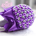 Gorgeous Purple Invory Blue Red Wedding Flowers Bridal Bouquets Elegant Pearl Bride Wedding Bouquet Crystal Sparkle