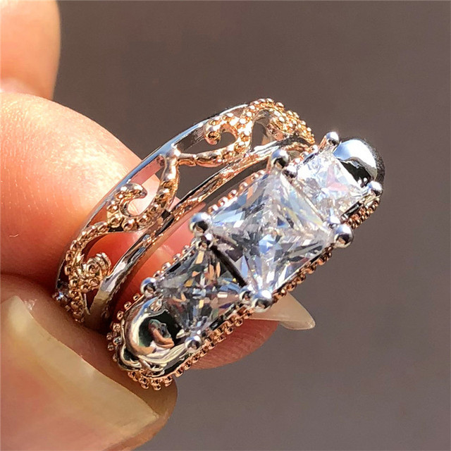 Punk Female Ladies Skull Ring 925 Silver Rose Gold Bridal Wedding