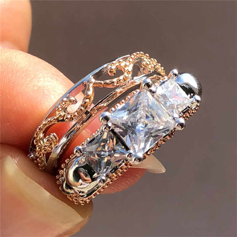 Punk Female Ladies Skull Ring Silver Color Rose Gold Bridal Wedding Ring Sets For Women 2019 Fashion Promise Engagement Ring Aliexpress