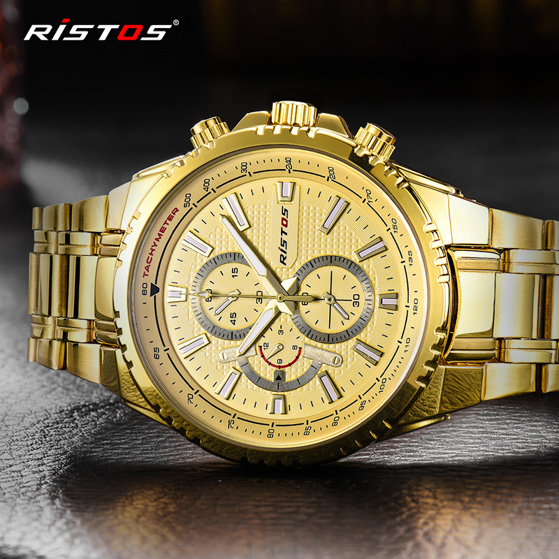 RISTOS Brand Men Watch Date Day Stainless Steel Relojes Hours Clock Dress Casual Quartz Watces Sport Wristwatch Number Father