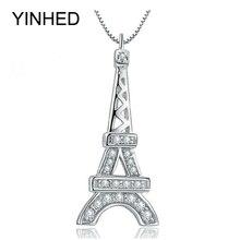 YINHED Romántica París Torre Eiffel Collar Colgante para Las Mujeres 925 Joyas de Plata de Moda Collar de Regalo de Cumpleaños ZN033