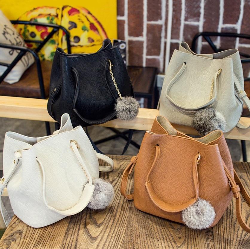 Women Handbag PU Leather Small Purse Feamle Women Shoulder Bag Bucket Bags Ladies Purse And Handbag favourite 1602 1f