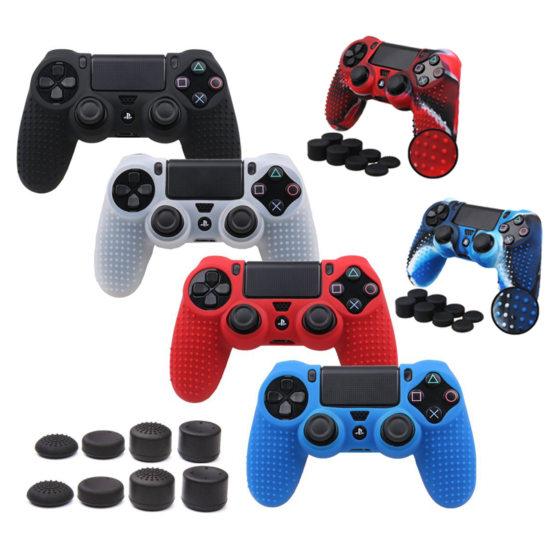 9 in 1 New Version for Sony Dualshock 4 PS4 Pro Slim Controller Anti-slip Silicone Rubber Cover Skin Case + Thumbsticks Grips