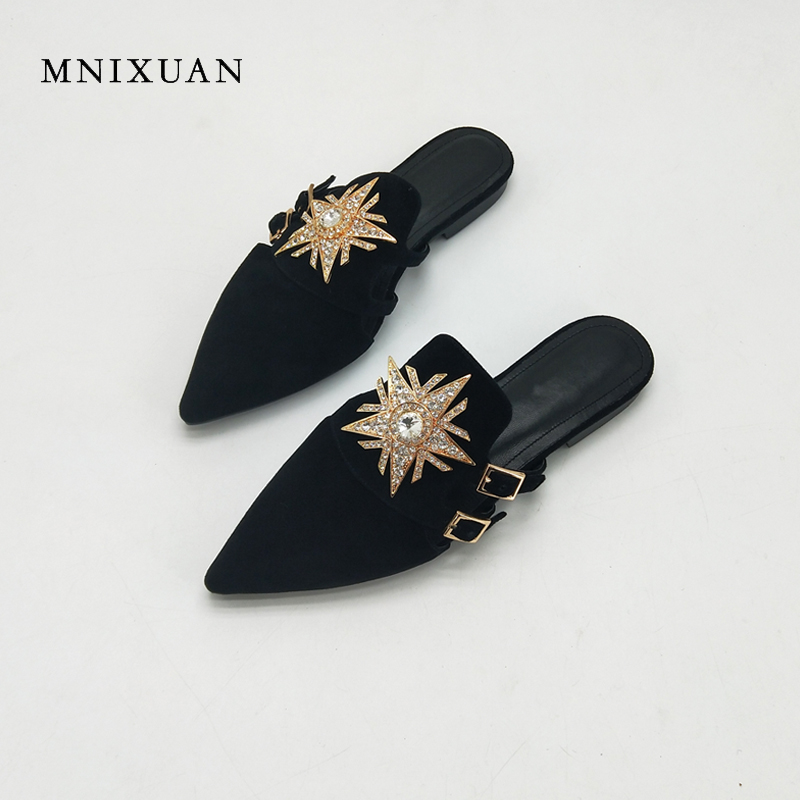 MNIXUAN women shoes flats 2018 summer new covered pointed toe real leather rhinestones slip on ladies mules big size 41 42 43 meotina women flat shoes ankle strap flats pointed toe ballet shoes two piece ladies flats beading causal shoes beige size 34 43