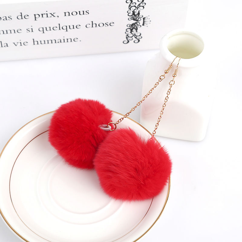 2016 New Fashion Pom Pom Cloth Red/Rose Fur Real Rabbit Hair Ball Pendant Gold Piercing Drop Earrings Brincos for Women