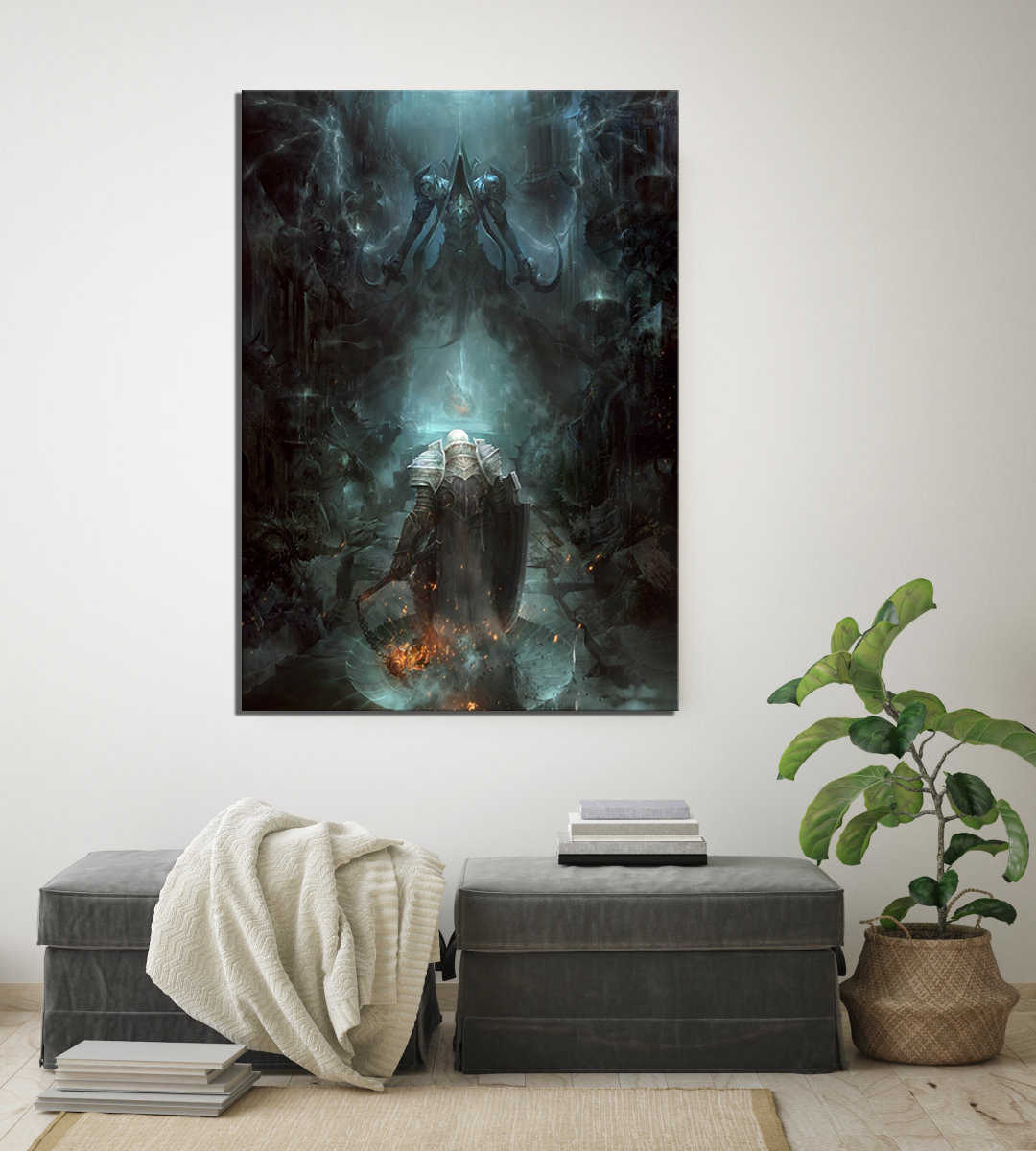 Фото Модульные картины холст настенная живопись 1 шт. Diablo 3 печатный плакат украшение