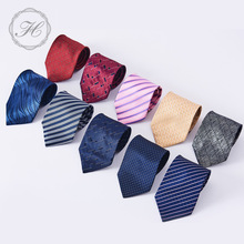 HCY Silk Tie Skinny Handmade Necktie Classic Designer Stripe Printed Ties For Mens Wedding Suit Slim Necktie Cravat
