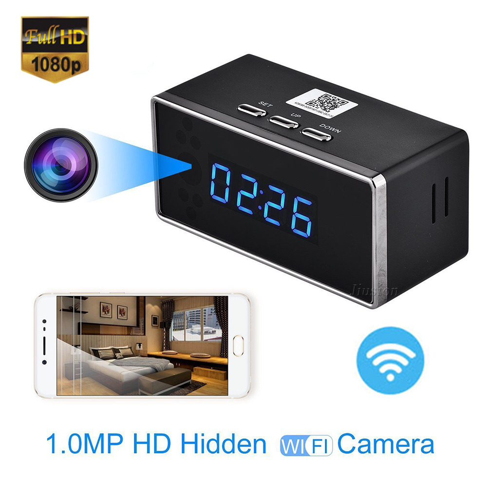 Mini WiFi Alarm Clock Camera HD 1080P Remote Security Night Vision Motion Sensor Video Recorder Wireless Surveillance Nanny Cam цена