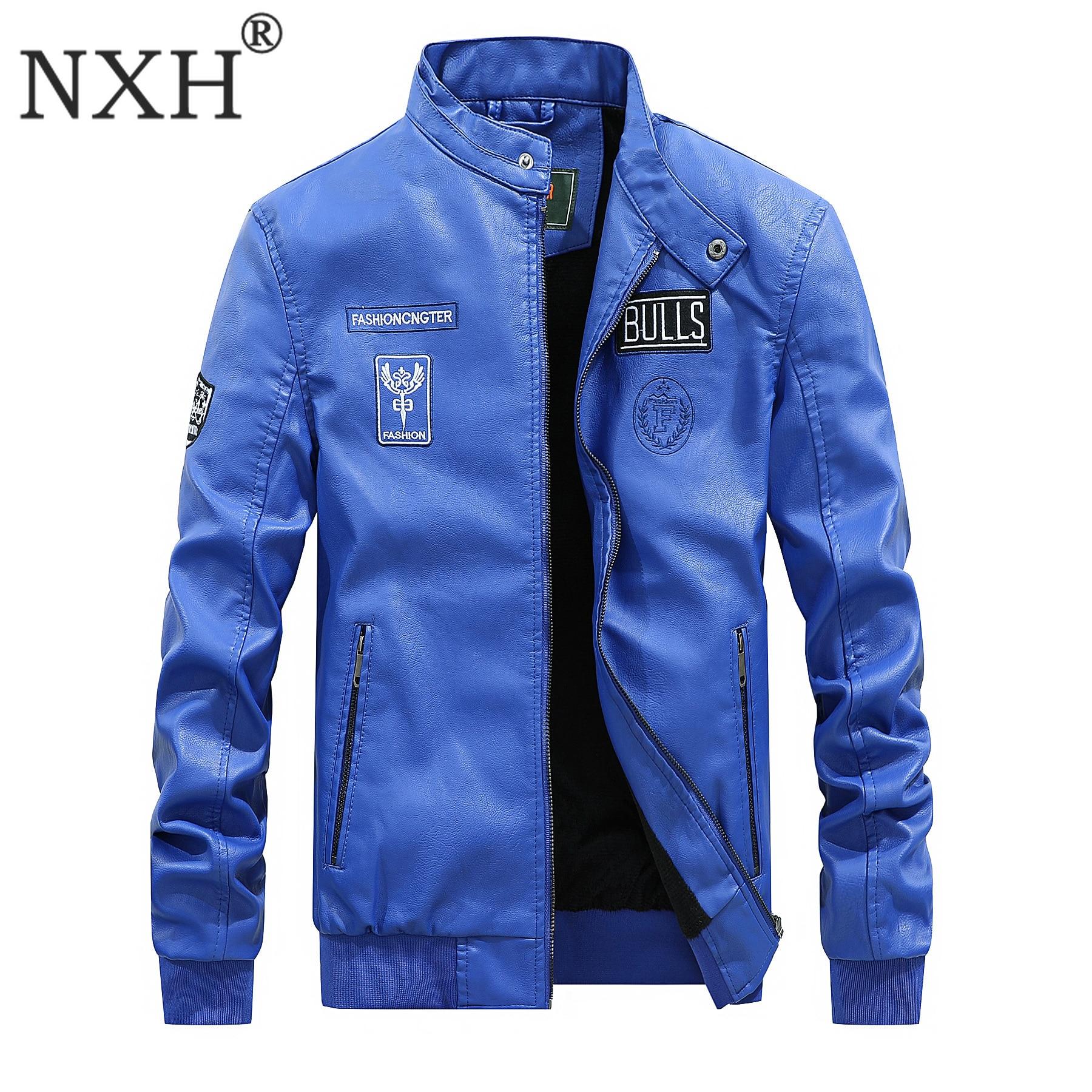 NXH Stand veste en cuir hommes Moto & motard doublure en laine Jaket hiver Faux cuir velours manteau bleu Bulls bomber veste col roulé