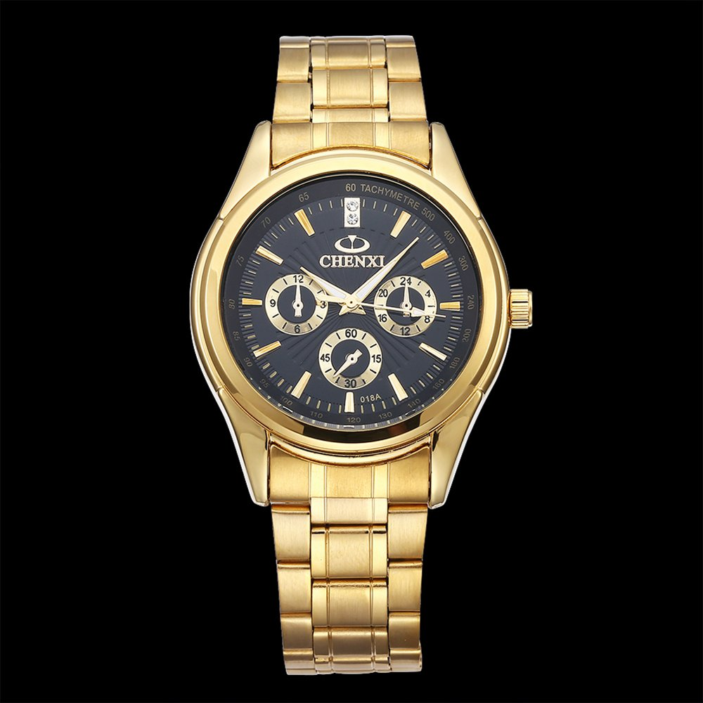 CHENXI Black Wristwatch Clock Quartz Business-Series Classic Waterproof Luxury Gold
