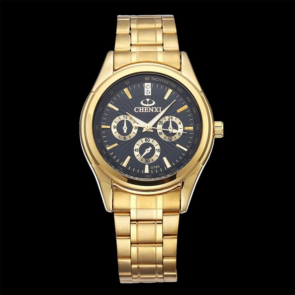 CHENXI De Luxe Or Hommes Montre D'affaires Unique Série Étanche Quartz Mâle Horloge 2017 Antique Classique Noir Montre-Bracelet pour Homme