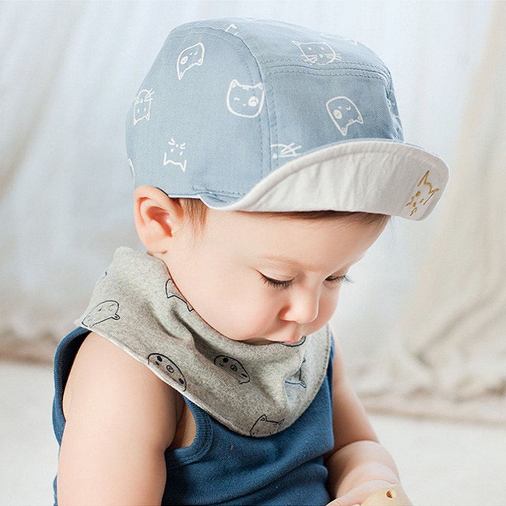 Cartoon Cat Prints Peaked Baseball Cap for Baby Boy Girl Infant Spring  Summer Soft Brim Cotton Toddle Sun Flat Hats Visors Y2-in Hats   Caps from  Mother ... dd1c1136f40