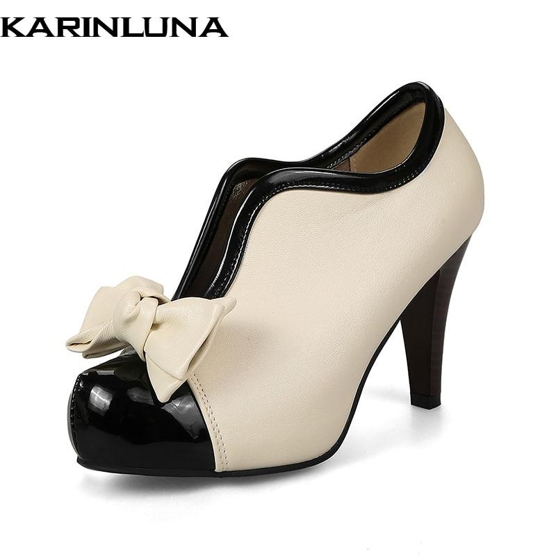 c83da60097 34-48 para Mulheres Sapatos de Casamento Karinluna Extra Tamanho Festa de  Mulher Cravado Salto Alto Plataforma Bowtie Doces Bombas