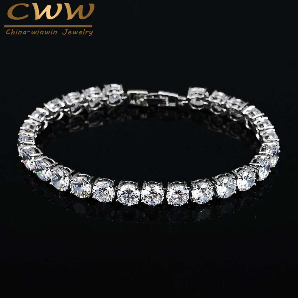 Cwwzircons 2017 Latest Design White Gold Color Aaa+ Round 05 Carat Cubic  Zirconia Tennis Bracelet Jewelry For Woman Cb058