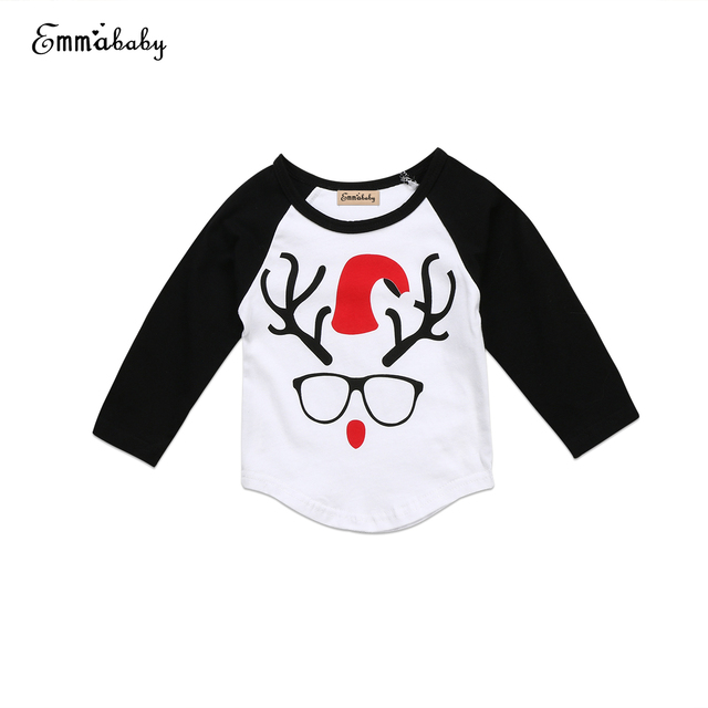 0bc88fa6 Newborn Baby Boys Girls Christmas T-Shirt Long Sleeve Animal Tops Autumn  Clothes Child Boy Girl Xmas T-shirt 0-24Y