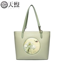 Famous brand top quality Cow Leather women bag Original handmade embroidery bag 2018 New Luxury Tote Bag handbag
