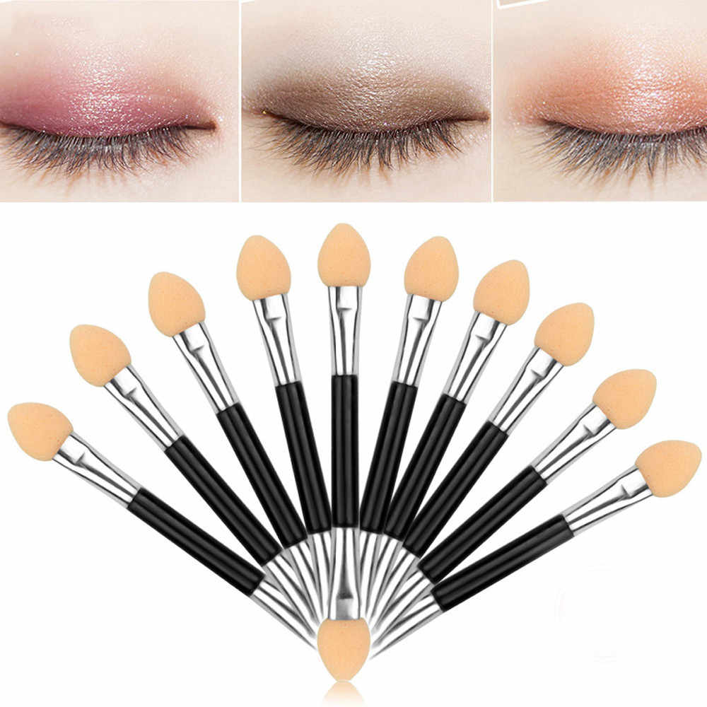 Keluar Atas 10Pcs Makeup Double-End Mata Kuas Eyeliner Alat Aplikator Spons Makeup Brush Set Profesional C0919 x0423 2 15