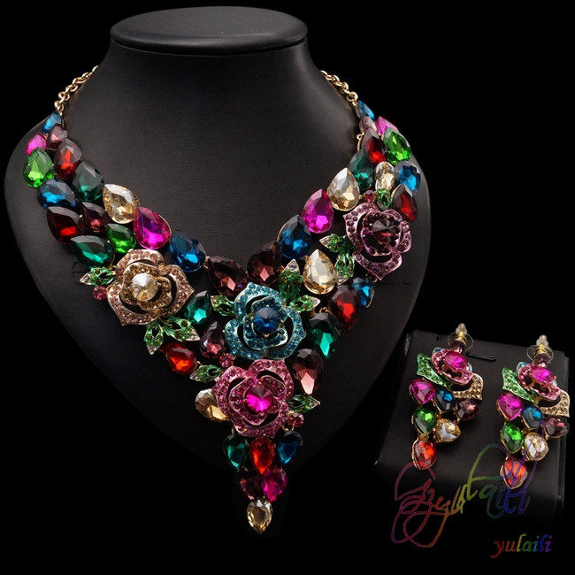 Yulaili Beautiful Big Crystal Jewelry Sets Free Shipping India Kundan Wedding Accessories Jewellery Many Color Available table