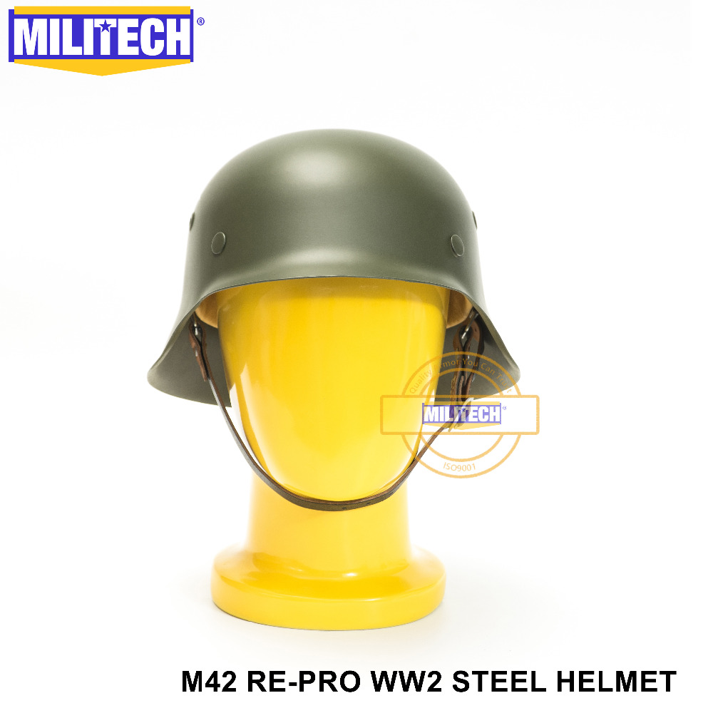 MILITECH WW2 German M42 Steel Helmet WW II M42 Repro German Helmet Motorcycle Safety Helmet World War 2 Collection Helmet