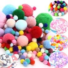 цены Pompom Mini Fluffy Soft Pom Poms Fluffy Plush Ball Kids Toys Handmade Wedding Decor DIY Sewing Craft Supplies 8/10/15/20/25/30mm