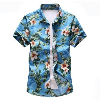 Hawaiian Shirt Male Flowers Print Casual Dress Floral Shirt Mens Clothing Beach leisure Short sleeve Blouse Men New men shirt summer new casual slim fit short sleeve hawaii shirt quick dry printed beach shirt male top blouse hawaiian shirt men