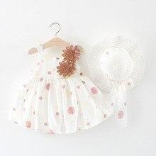 Cute Dot Summer Baby Dress Big Bow Sleeveless Princess