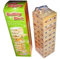 54 Blocks+4 Dices Wooden Tumbling Stacking Jenga Tower Children Game Free shipping