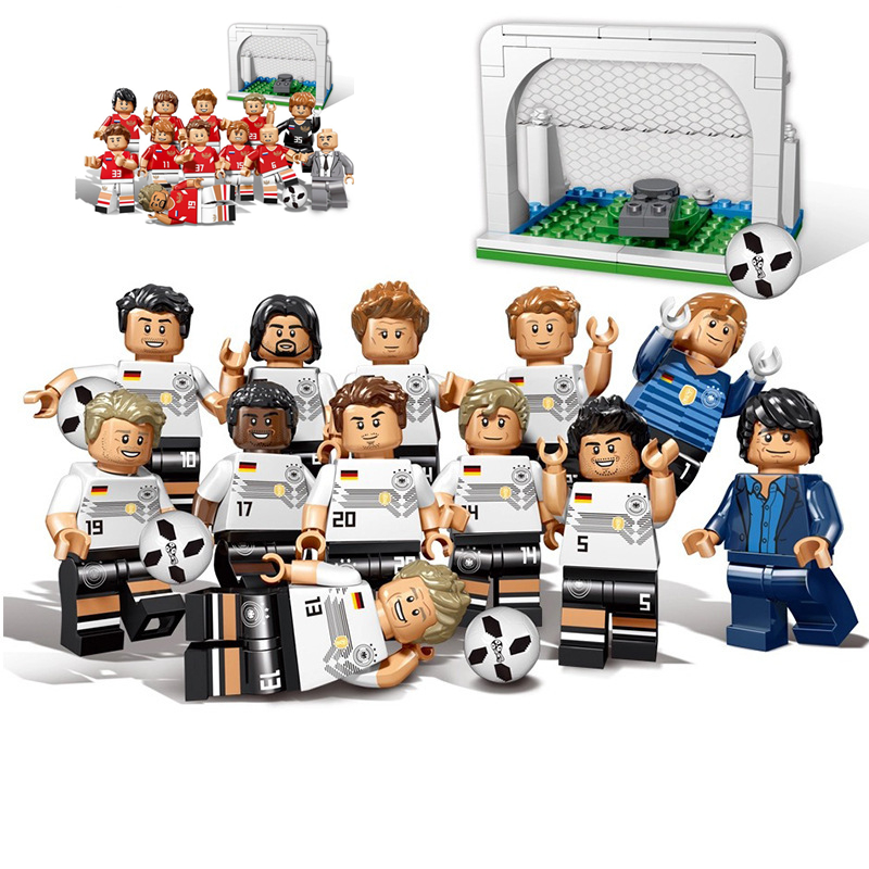 12pcs Soccer bricks football team Figures fit Legoings city soccer figures Building Block brickschildren Toy gift winner cup