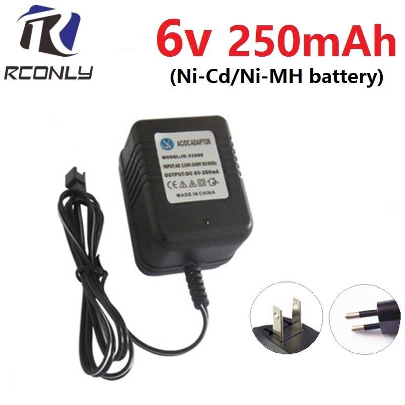 Eu/us Plug 6 V 250ma Oplader Voor Ni-cd/mh Batterij Pack Oplader Voor Speelgoed Rc Auto Ac 110 V-240 V Input Dc 6 V 250ma Sm Zwart Plug Zowel De Kwaliteit Van Vasthoudendheid Als Hardheid Hebben