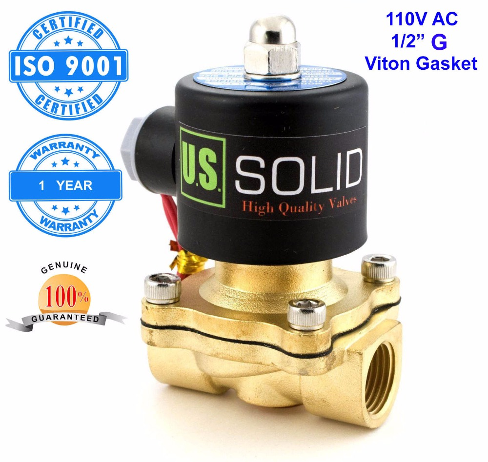 U.S. Solid 1/2 Brass Electric Solenoid Valve 110 V AC G Thread Normally Closed diesel kerosine alcohol Air Gas Oil Water free shipping normally closed solenoid valve 2v025 08 220vac 1 4 high qulity for water air gas 2v sereis two way valve