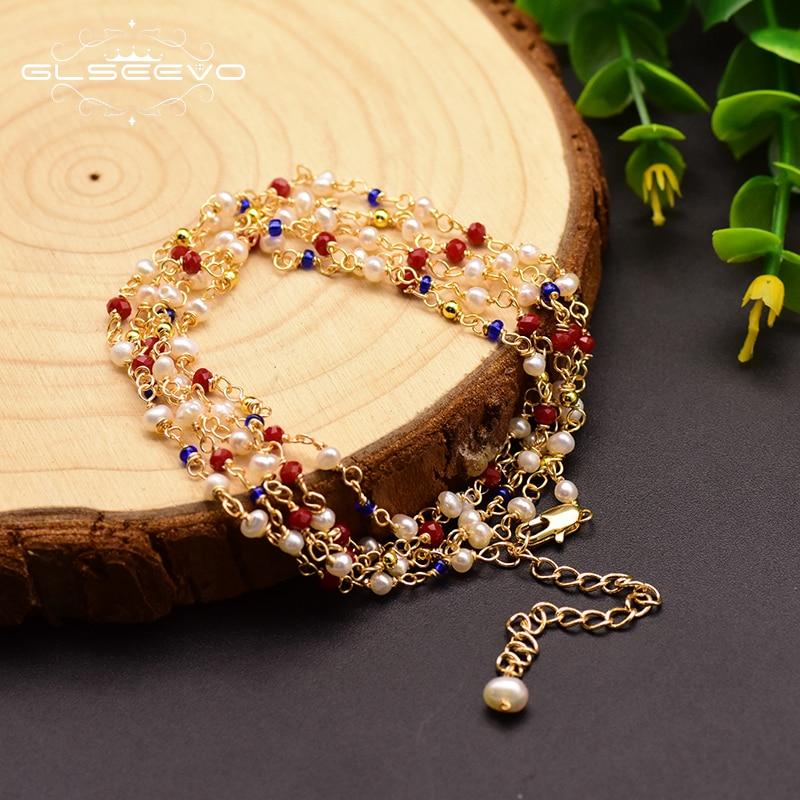 GLSEEVO Handmade Multi-layer Bracelet For Women Natural Fresh Water Pearl Multipurpose Bracelet Jewelry Pulseras Mujer GB0154