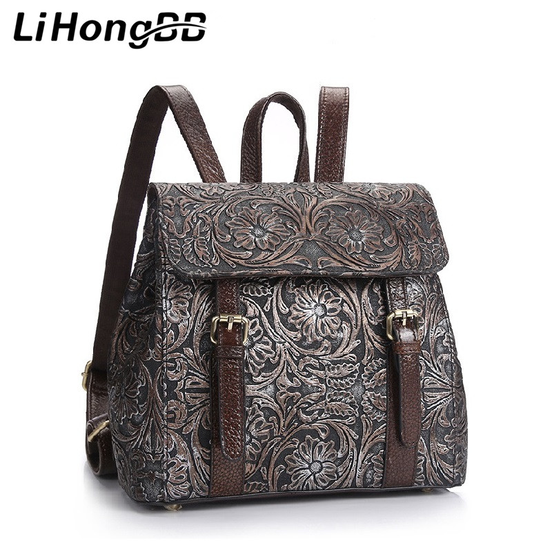 ФОТО New Fashion Women Embossed Flower Backpack Genuine Leather Teenager School Bag National Vintage Design Female Laptop Backpacks
