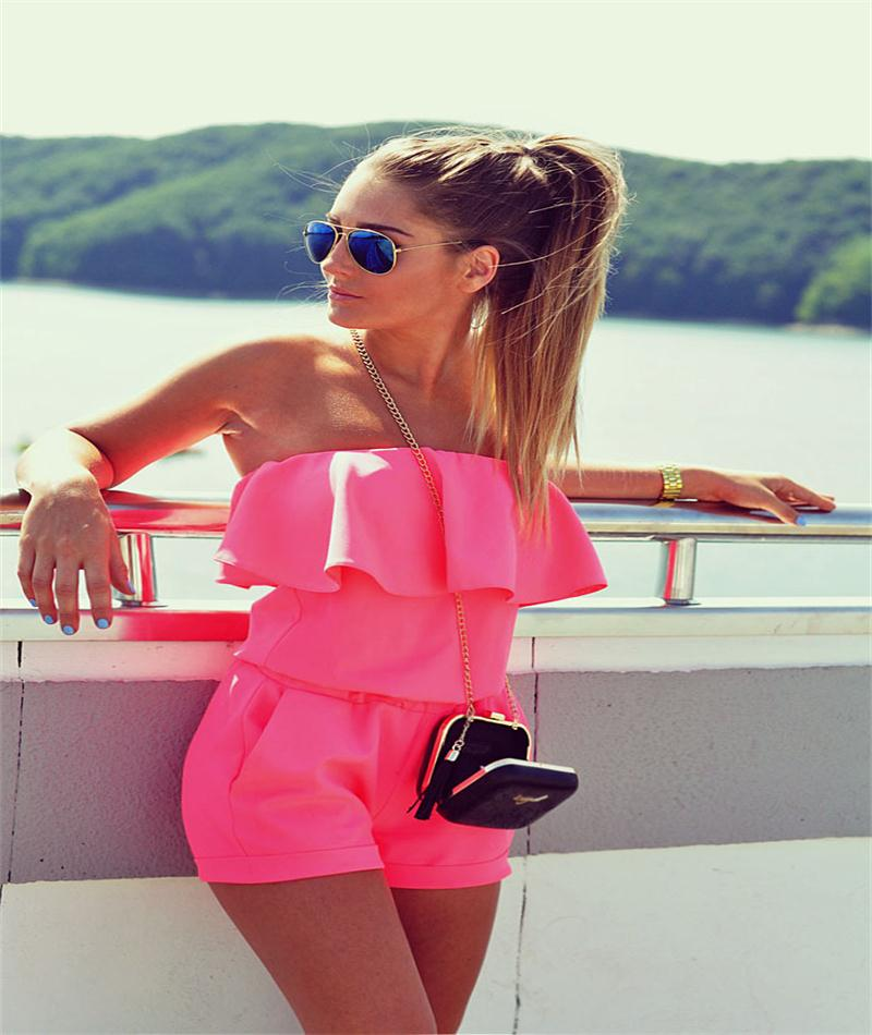 New Brand 2016 British Fashion Sexy Solid Strapless Women Playsuit Casual Short Pants Playsuits Summer Wear