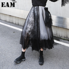 [EAM] Новинка года; сезон весна-лето; высокая эластичная талия; Черная кружевная сетчатая юбка с разрезом; 5 слоев; юбка средней длины; женская мода; JQ956