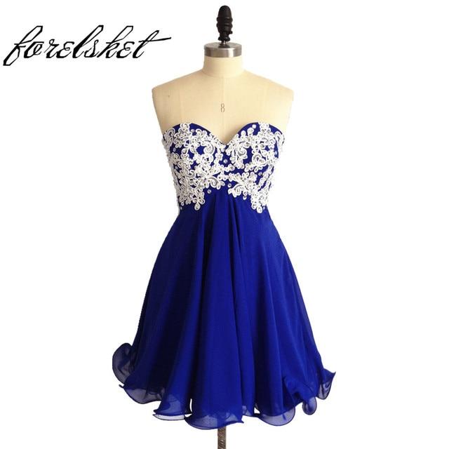 62ec2ce75 Baratos Vestidos de Dama de honra 2019 Vestidos de Festa de Casamento Azul  Royal Curto Querida