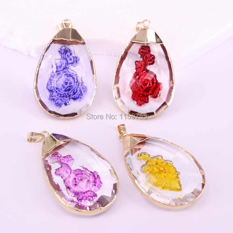 10PCS Water Drop Glass Crystal Gem Pendant, Beautiful Pendants For Jewelry Making
