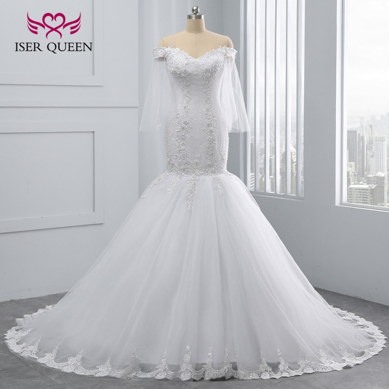Luxury Pearls Beading Quality Mermaid Wedding Dress 2019 New Arrival Cap Sleeve Plus Size Lace Embroidery