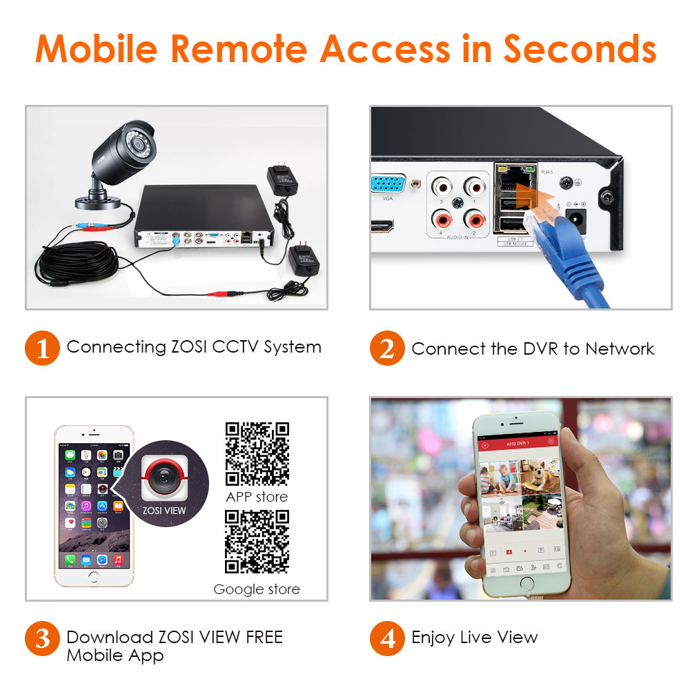 ZOSI 8CH Videoövervakningssystem 8x720P / 1080P Inomhus utomhus IR - Säkerhet och skydd - Foto 5