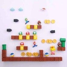 8/12/17/19/22/64pcs 3D Super Mario Bros. Fridge Magnets Refrigerator Message Sticker Home decora Children Toys Birthday Gift
