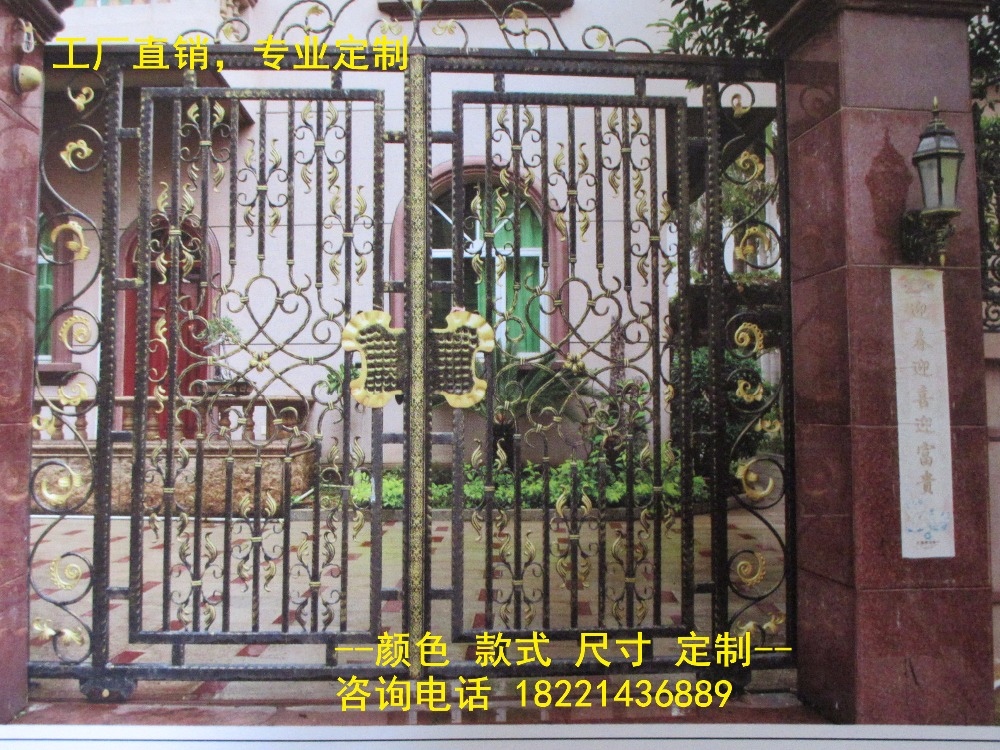 Custom Made Wrought Iron Gates Designs Whole Sale Wrought Iron Gates Metal Gates Steel Gates Hc-g74