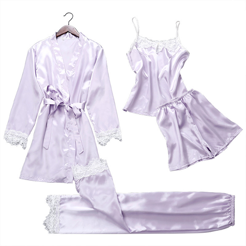 4 pieces   pajamas   for women sexy home suit   pajamas     set   sleepwear clothing nightgown silk pants&short&clothes summer   pajama     sets