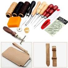 Многофункциональные инструменты для шитья и рукоделия из кожи 14 шт. шило Вощеные наперсток иглы наборы ножницы