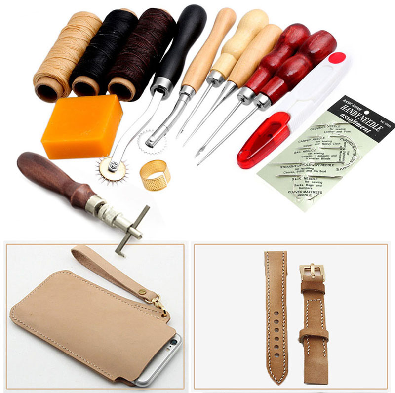 Multifunctional Sewing Leather Craft Tools Kit 14 pcs Awl Waxed Thimble Needle Scissor Sets|Freezer Parts| |  - title=