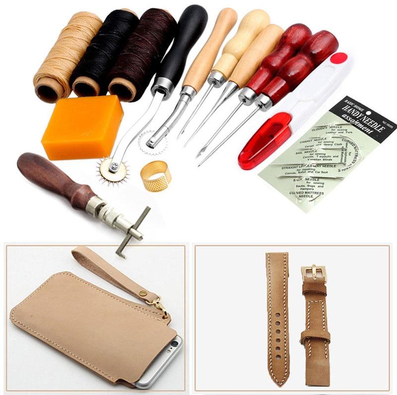 Multifunctional Sewing Leather Craft Tools Kit 14 Pcs Awl Waxed Thimble Needle Scissor Sets
