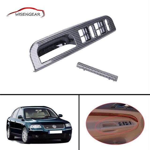 2x Carbon Grain Interior Door Window Switch Panel Bezel Handle Trim Set For VW Jetta Golf MK4 Passat B5 3B0867175 C-5