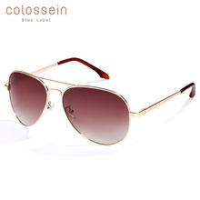 COLOSSEIN BLUE LABEL Pilot Style Sunglasses Men Vintage Oval Lens Classic Brown For Outdoor Driving Hot Sale Adult Glasses