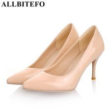 ALLBITEFO plus size:33 44 pu leather pointed toe women high heel shoes fashion high heels office ladies spring women shoes