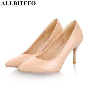 Image 1 - ALLBITEFO plus size:33 44 pu leather pointed toe women high heel shoes fashion high heels office ladies spring women shoes