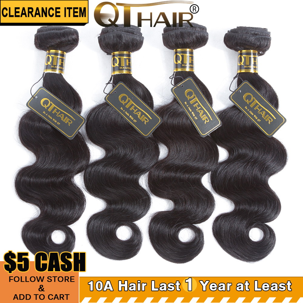 4 Bundle Brazilian Body Wave 100% Human Hair Bundles 8-28inch QThair - Menneskehår (sort)