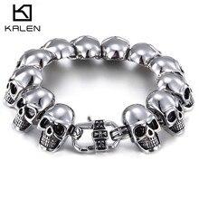 2016 Kalen New Punk Cheap Skull Bracelet Bangle For Men 316L Stainless Steel Gothic Skeleton Skull Charm Bracelet Halloween Gift